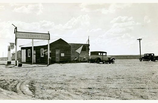 Painted Desert Park sign along Route 66, 1930s | Photo courtesy of Petrified Forest National Park