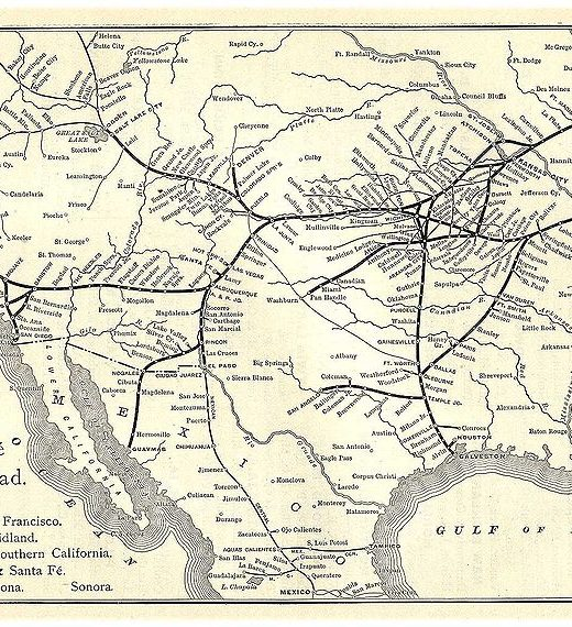 A map of the Atchison, Topeka and Santa Fe Railway line in 1891