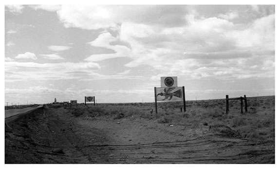 Billboards along Route 66, 1957 | Photo courtesy of Petrified Forest National Park