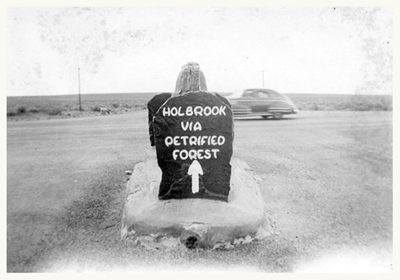 Park sign to Holbrook from the 1950s | Photo courtesy of Petrified Forest National Park
