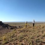 A crew working on making a detailed topographic map/image of a Basketmaker site near the south end of the park | Photo courtesy of Petrified Forest National Park
