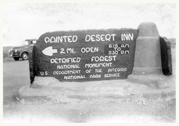 Sign at intersection of Monument Hwy and Route 66, 1951 | Photo courtesy of Petrified Forest National Park