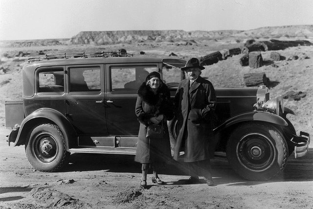 Albert Einstein and his wife at the park in 1931 | Photo courtesy of Petrified Forest National Park