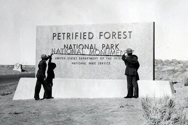 New park entry sign, 1962 | Photo courtesy of Petrified Forest National Park