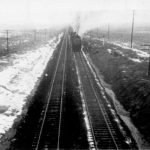 Santa Fe freight train at park entrance - 1940