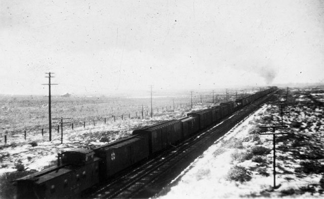 Santa Fe freight train at park entrance - 1940