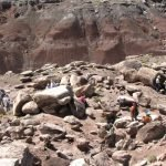 A group of researchers recording rock art in the park in a project called the Rock Art Stability Index (RASI) | Photo courtesy of Petrified Forest National Park