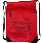 Mountain Lion Petroglyph Cinch Bag in Red