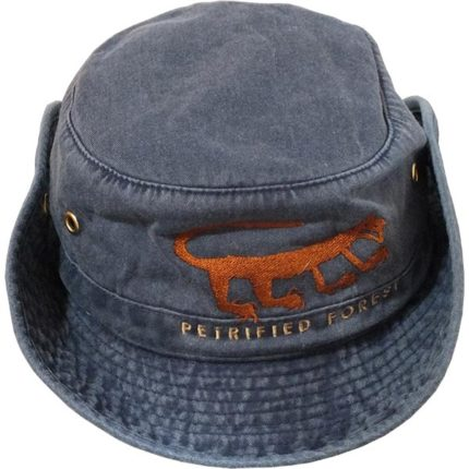 Cotton Hiker Hat in Denim Blue with Brim Snapped Up