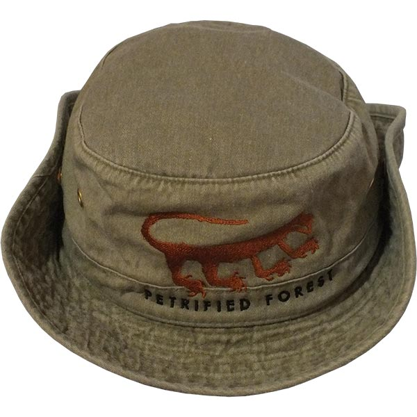 Cotton Hiker Hat in Khaki Green with Brim Snapped Up