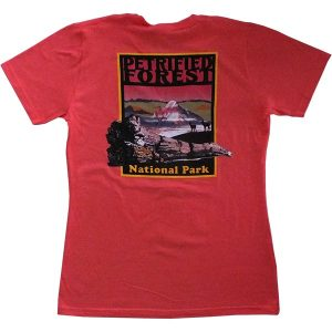 Ladies Cut Petrified Forest T-Shirt in Deep Coral - Back View