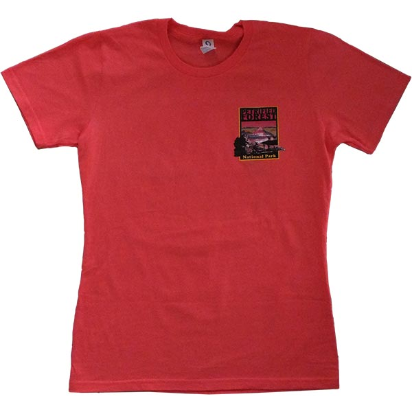 Ladies Cut Petrified Forest T-Shirt in Deep Coral
