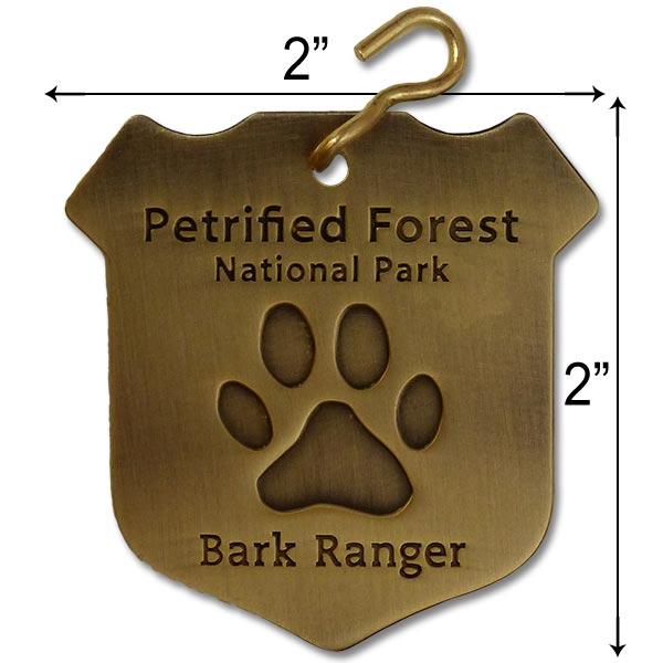 "Large Petrified Forest ""Bark Ranger"" Dog Collar Tag"