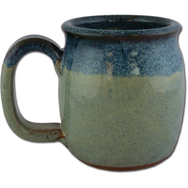 Petrified Forest Mountain Lion Petroglyph mug in Denim color - back of mug