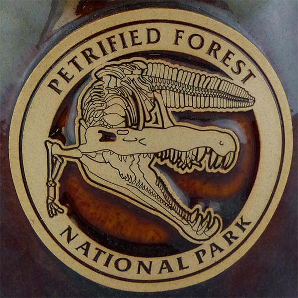 Petrified Forest Phytosaur mug in Root Beer color - logo
