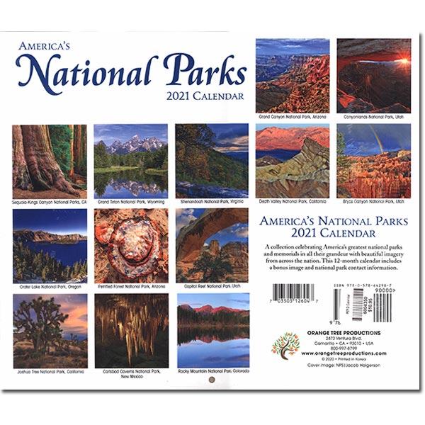 America's National Park 2021 Calendar park images